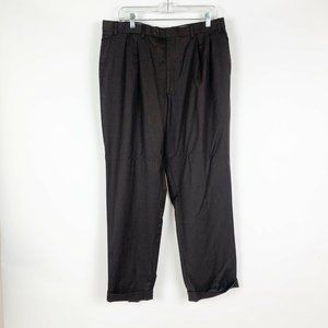IZOD Men's Brown Pleated Front Cuffed Pants